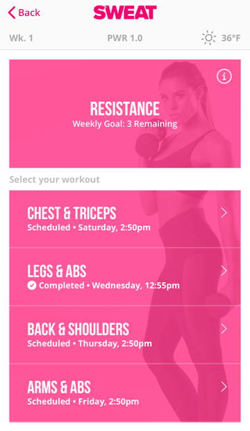 Screenshot from Sweat App