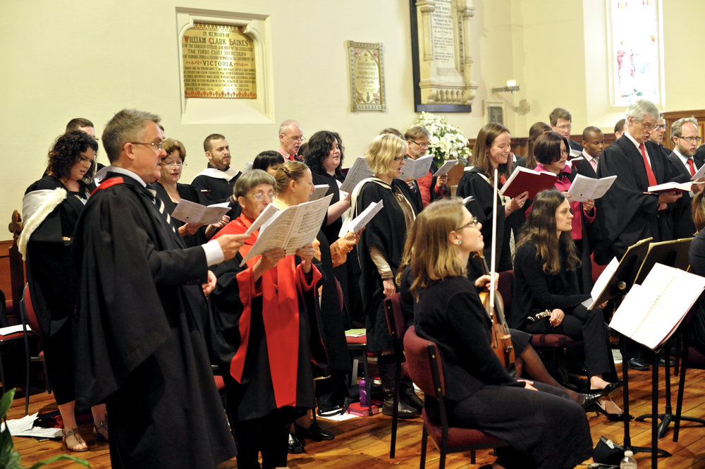 The choir singing an orchestral mass setting at Christ Church