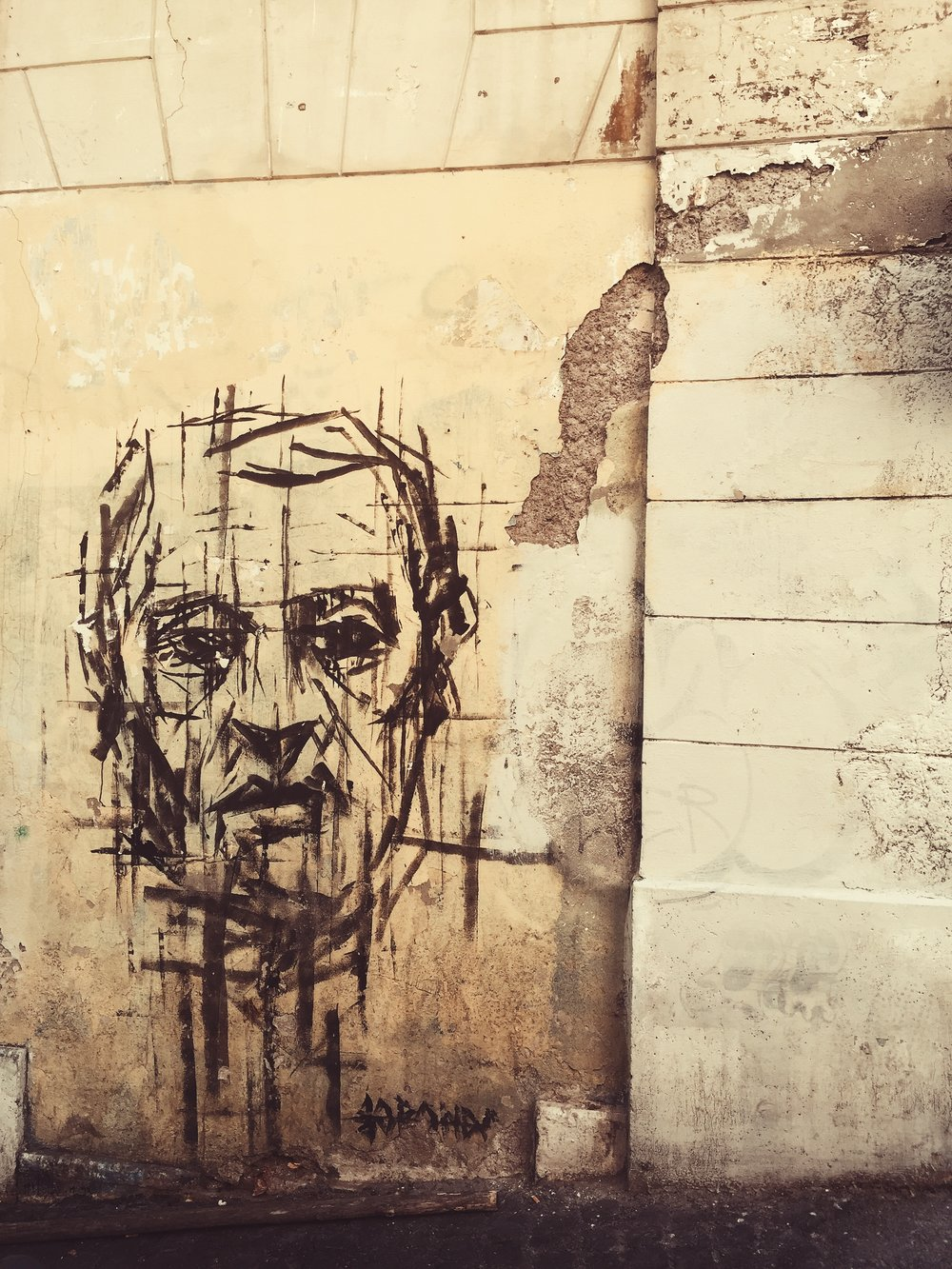 street art portrait in rome italy