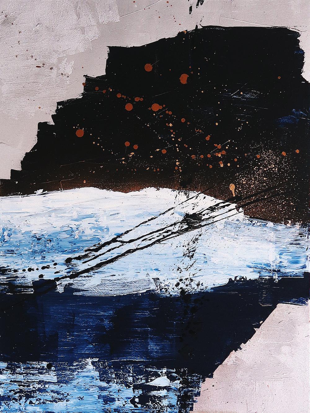 Seeking sunrises during storms - Bondi Icebergs during a stormy nightAcrylic on canvas30