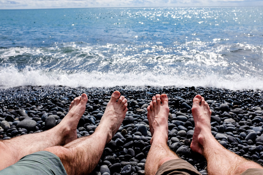 Relaxing on the Black Sand Beach, Vík, Iclenad, 2016