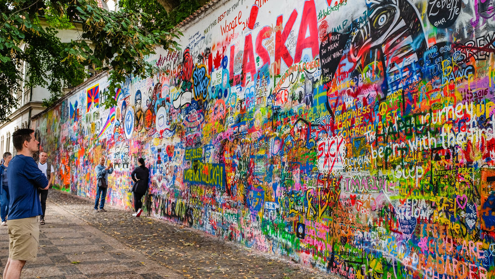 Lennon Wall in Prague, Czech Republic 2016