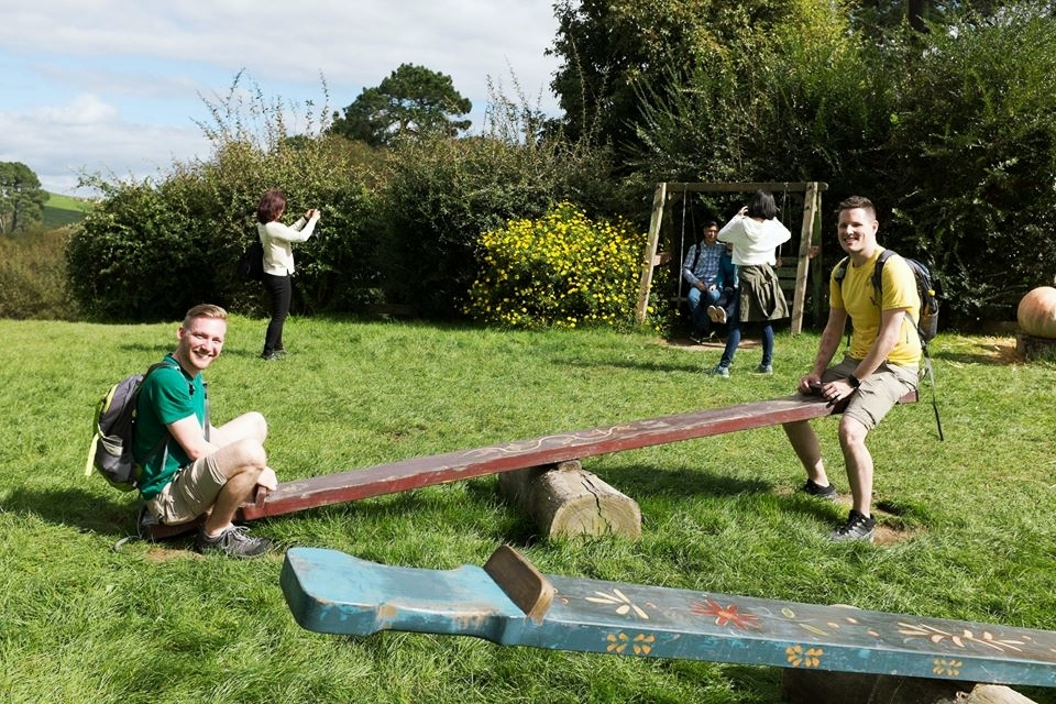 Seesaw fun at Hobbiton in New Zealand, 2016