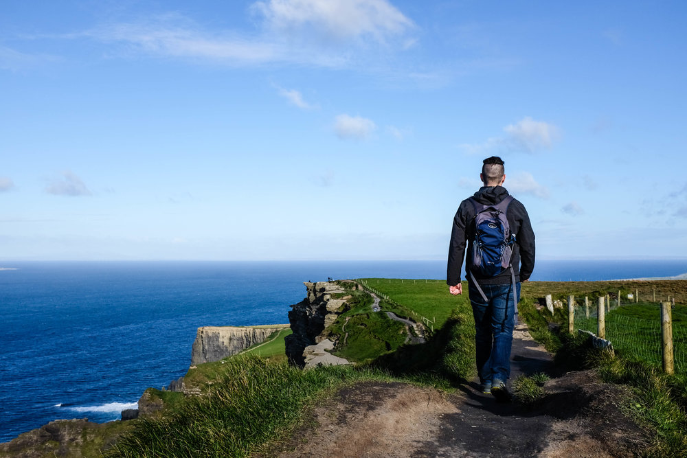 Brad hiking along the edge.