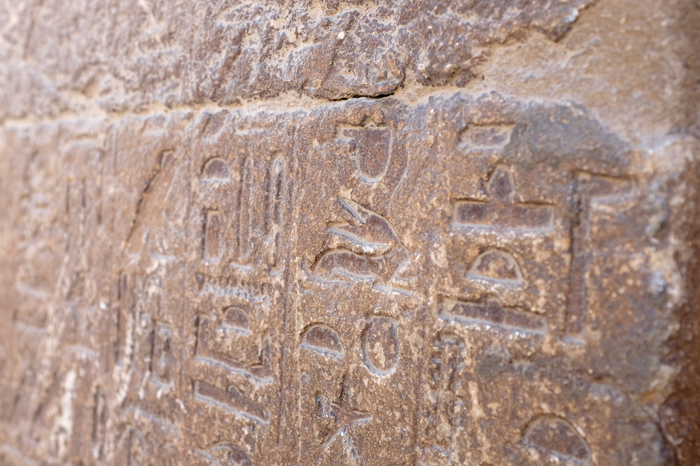 Hieroglyphics from a tomb in the Pyramids complex. Giza, 2016