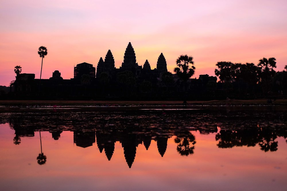 Angkor at sunrise was picturesque.