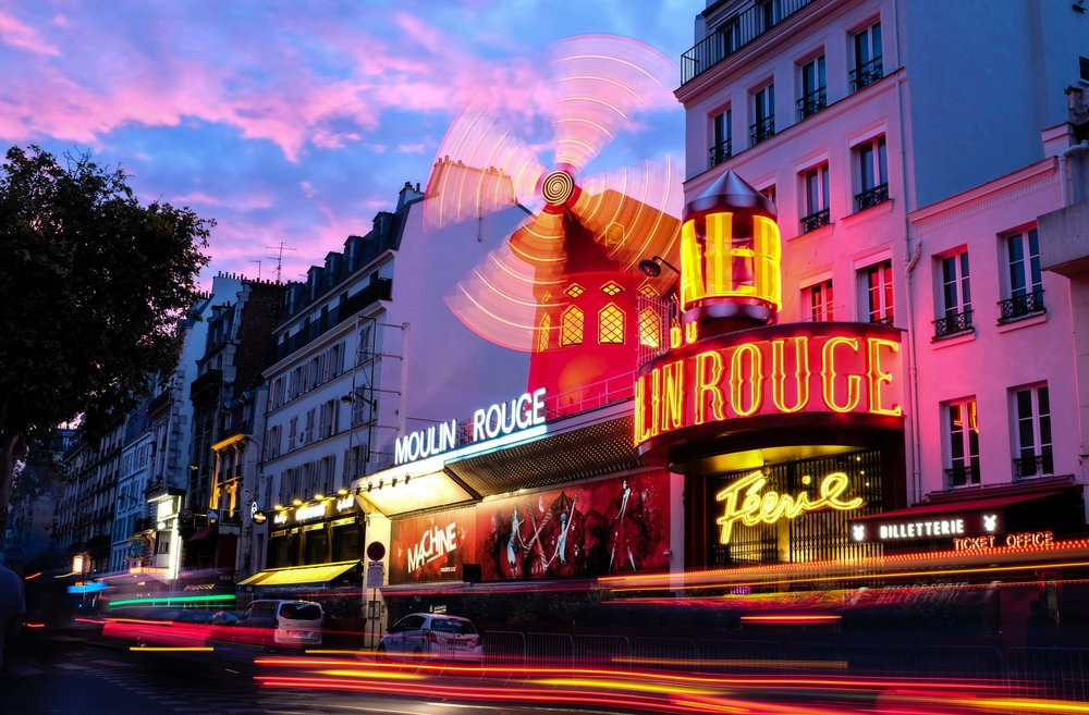 Sun setting over the famed Moulin Rouge