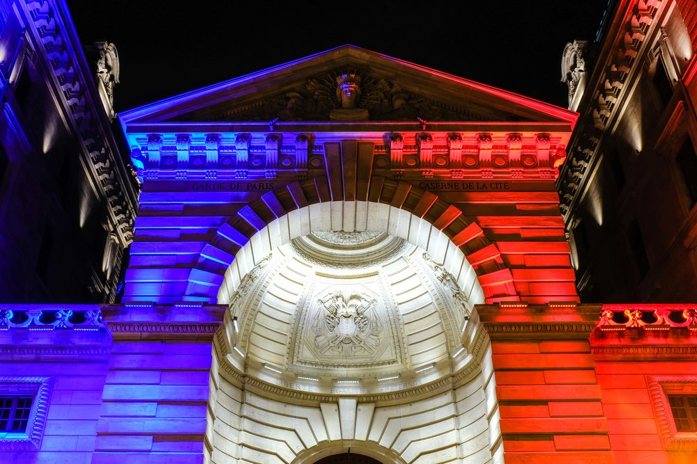 French Flag in lights.