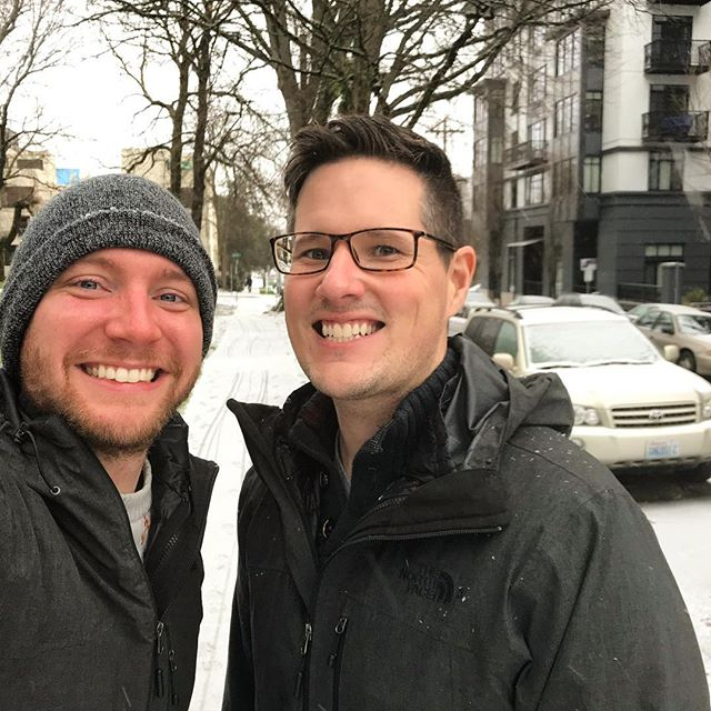 "Sings together, ""I'm dreaming of a white Christmas"" #snow #snowy #whitechristmas #christmas #portland #portlandoregon #pdx #gayportland #gaypdx #gay #gaycouple #gaymen #gaystagram #picoftheday #holiday #holidaycheer #goodtimes #gaytravel #gaylife #snowflakes #snowfall #winter #winterishere #winterwonderland #letitsnow"