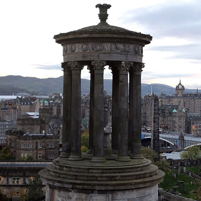 Panoramic view of Edinburgh, Scotland at dusk from Calton Hill, October 18, 2016. . . . #panorama #panoramic #panoramicview #wanderlust #travel #igtravel #backpack #backpacking #fujifilmx100t #scotland #edinburgh #dusk #sunset #hikewithaview #uk #unitedkingdom #travelphotography #traveller #worldtraveler #travelgram #latergram