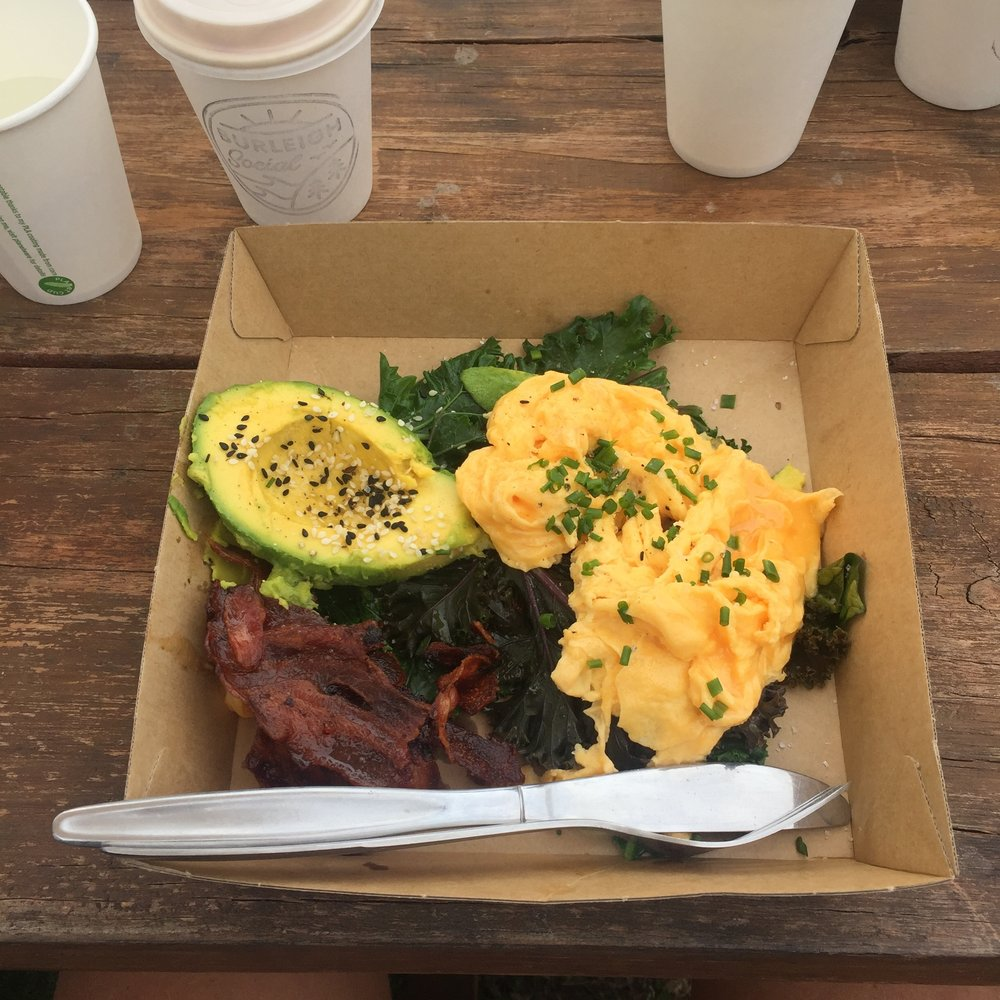 Yep, brekky comes in a cardboard box at Burleigh Social!