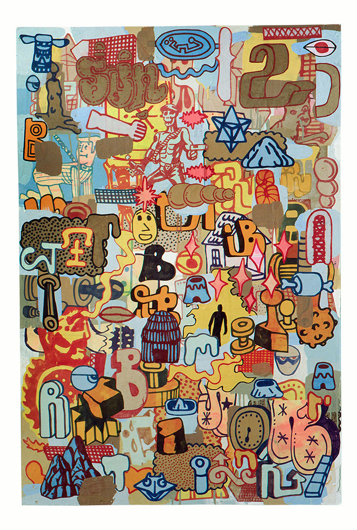 "Du Terrian Au Galactique,  Mixed Media on Wood, 32"" x 48"", 2004"