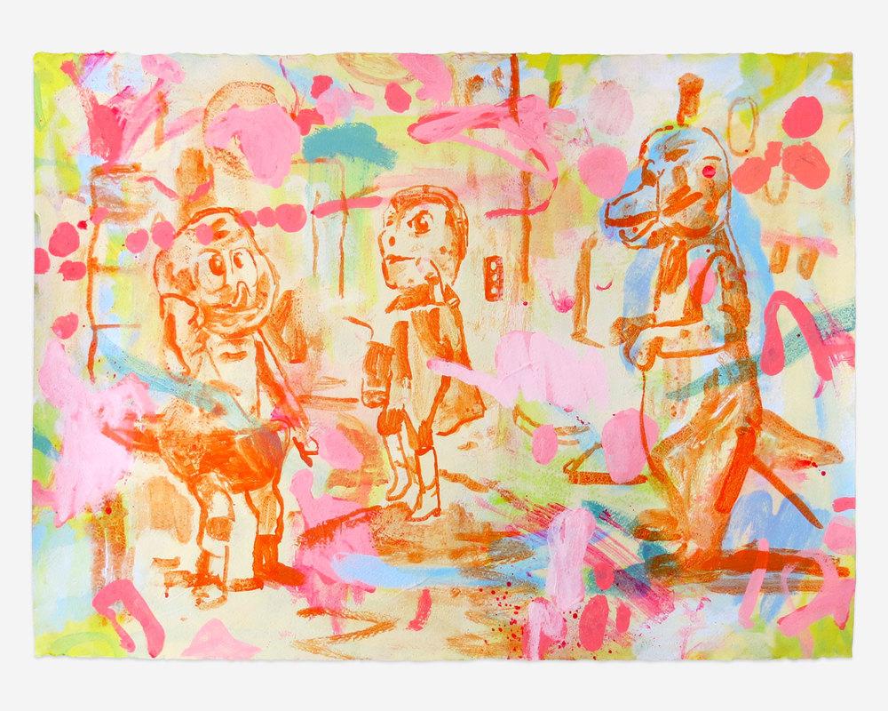 """Chibira Kun 1970, Acrylic on Paper, 22"""" x 30"""", 2014"""