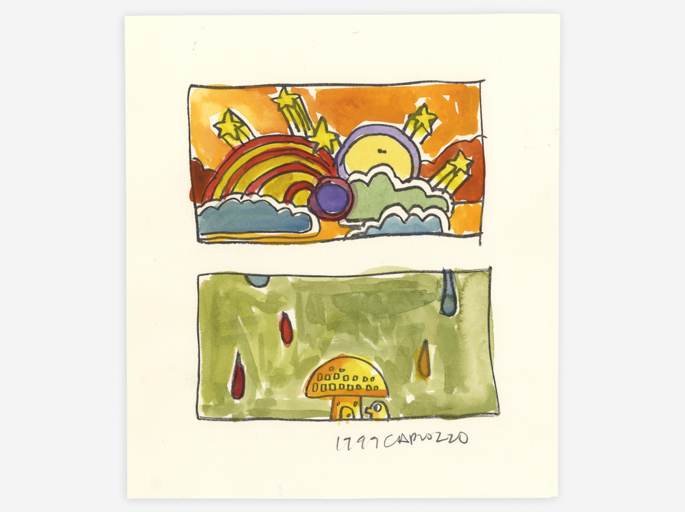 "Rainy Day Mushroom Mellow , Ink Transfer and Watercolor on Paper, 8.5"" x 10"", 1999"