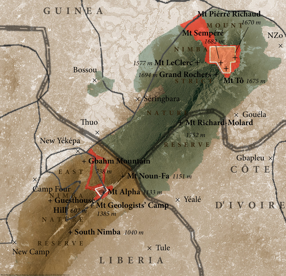 Map of the conflict between the biodiversity of the Nimba Mountains and iron mining companies. (Image © Jared Bernard)