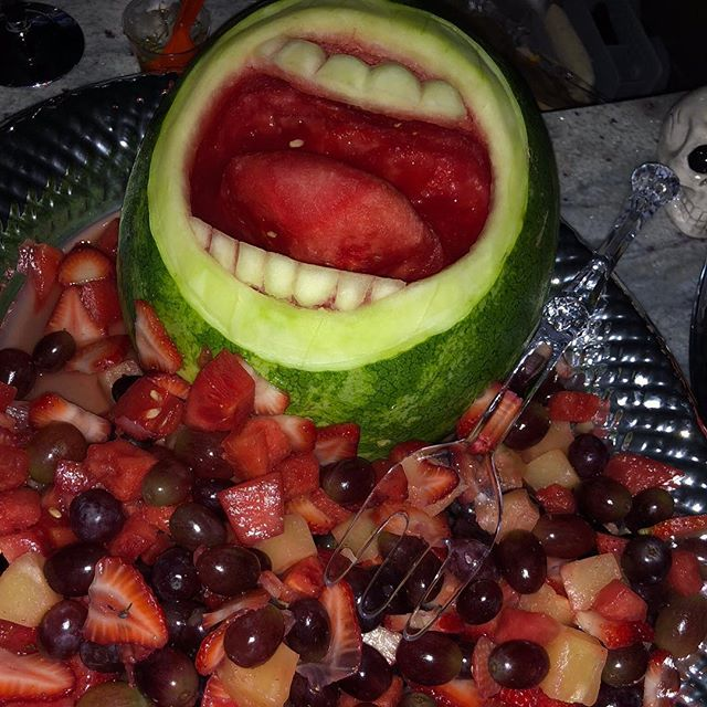 Not gonna lie. I spent the better part of Halloween morning carving a watermelon mouth.