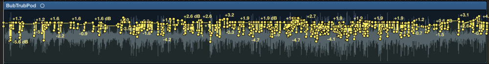 """An example of what I now call """"Tim Time"""". Each dot is a volume edit, almost all being Tim's laughter or spikes in volume during speech. Im getting rather good at it."""