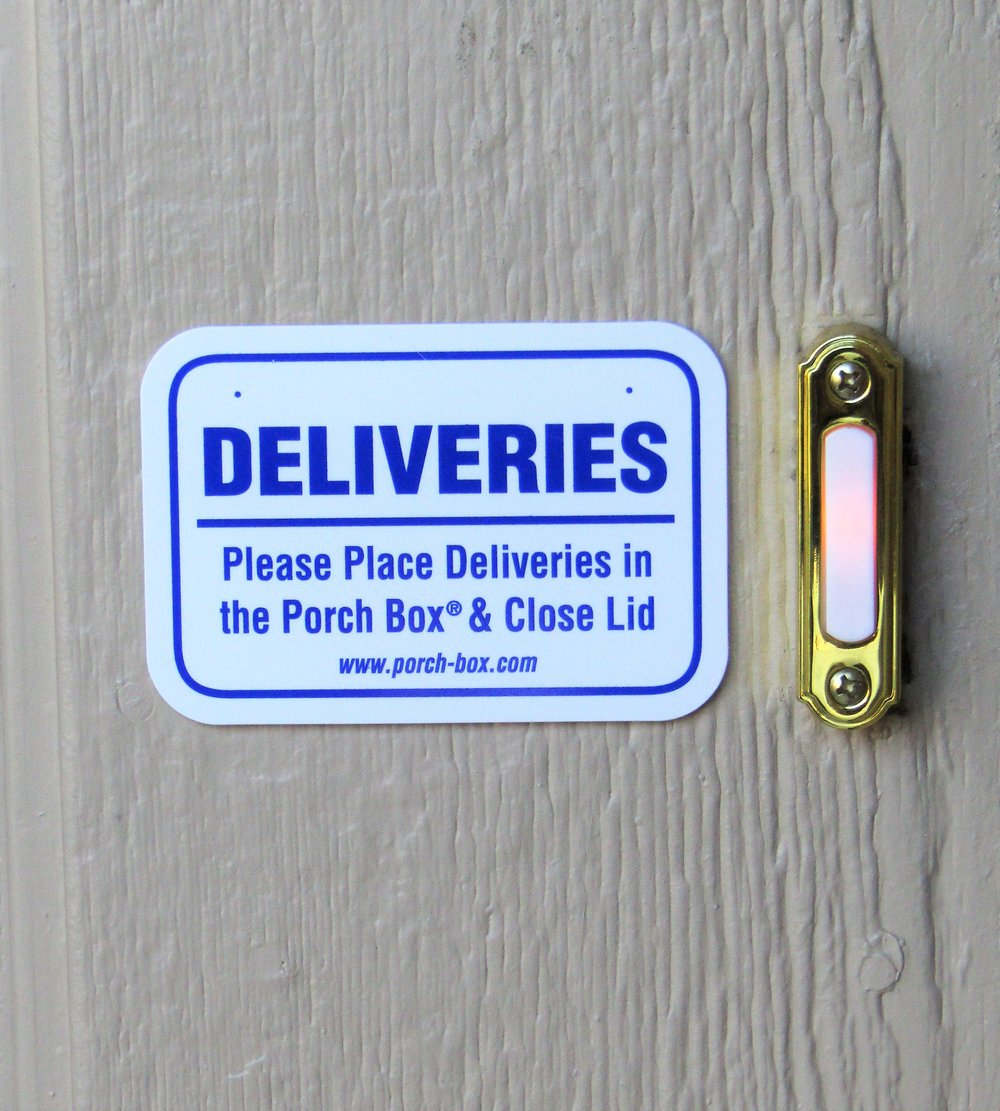 Every Porch Box and Parcel Box comes with a free Delivery Notification Placard