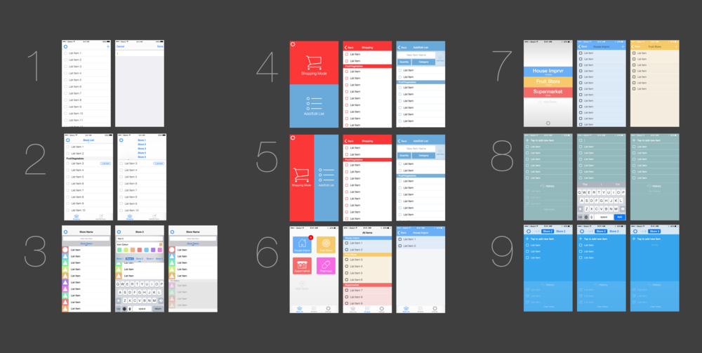 UI Prototypes done in Sketch. (Click on image to enlarge)