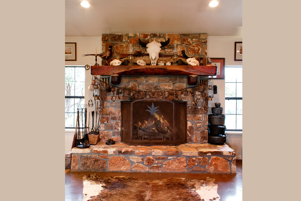 Grand Wood-Burning Fireplace