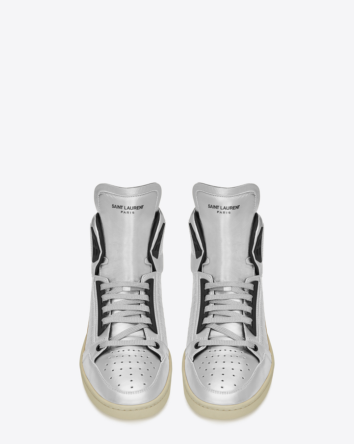 billidollarbaby: Saint Laurent SIGNATURE COURT CLASSIC SL/24H SNEAKERS IN Silver and Black Leather