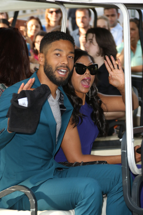 celebritiesofcolor: Jussie Smollett and Taraji P. Henson arriving at the 2015 FOX Programming Presentation Party, held at the Wollman Rink in New York City.