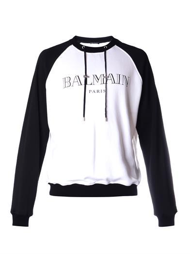 billidollarbaby: Balmain Logo-print drawstring sweatshirt