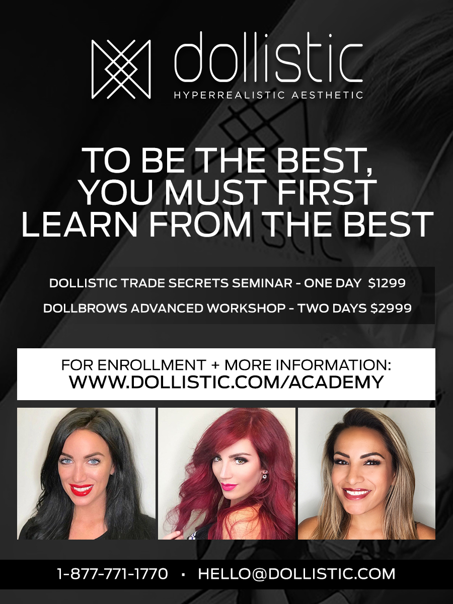 Dollistic Microblading Academy will teach you how to perfect microblading your skills and double your bookings with elite education from DOLLISTIC Master Micropigmentation Instructors;  Emily Joy ,  Meagan  &  Christina .