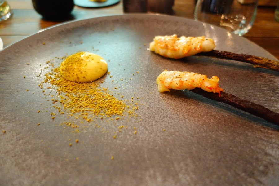 Grilled langoustines with fennel pollen and virgin rapeseed oil mayonnaise