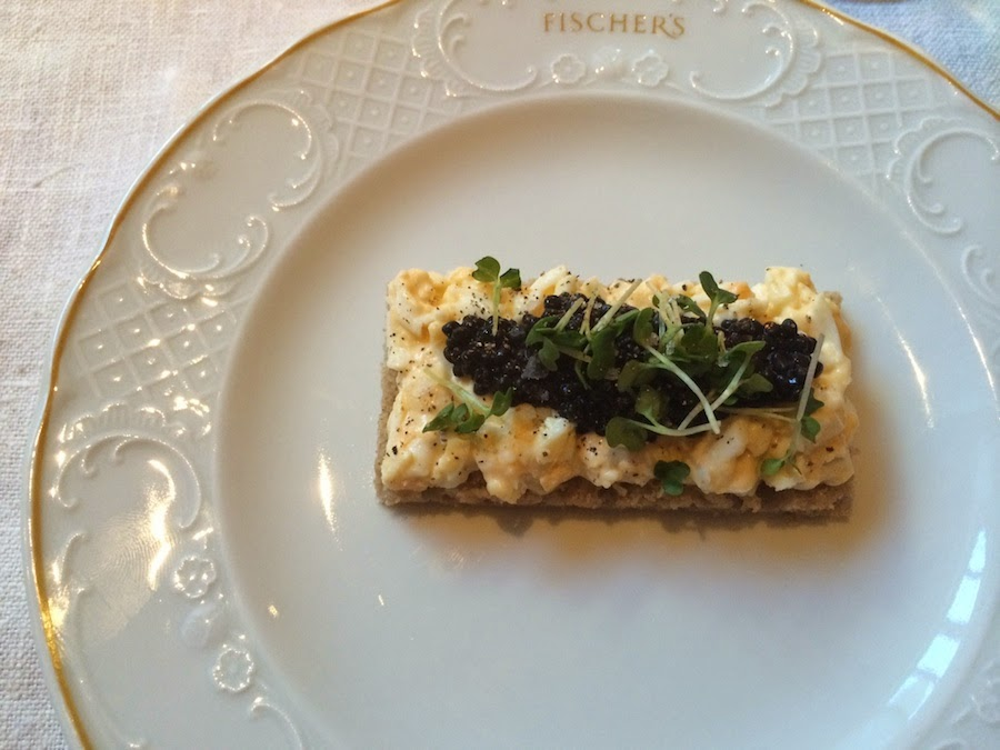 Herring roe caviar and egg brötchen