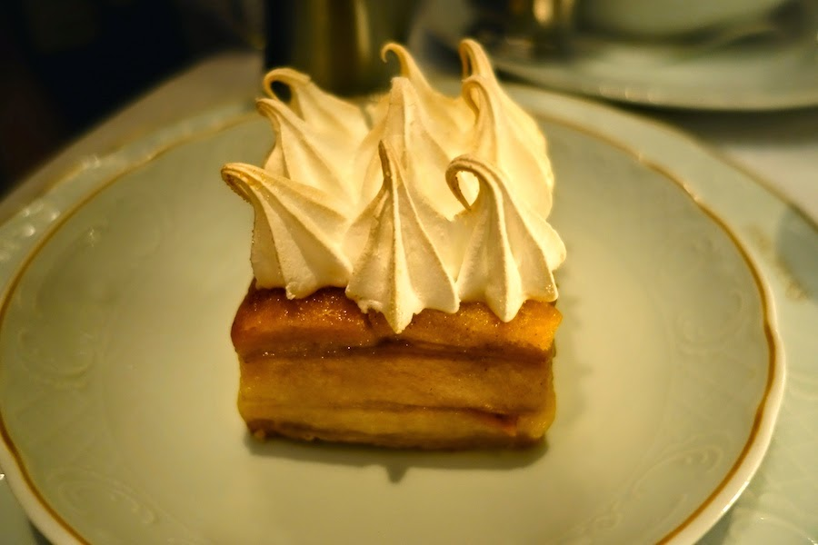 Scheiterhaufen - apple bread and butter pudding with calvados anglaise