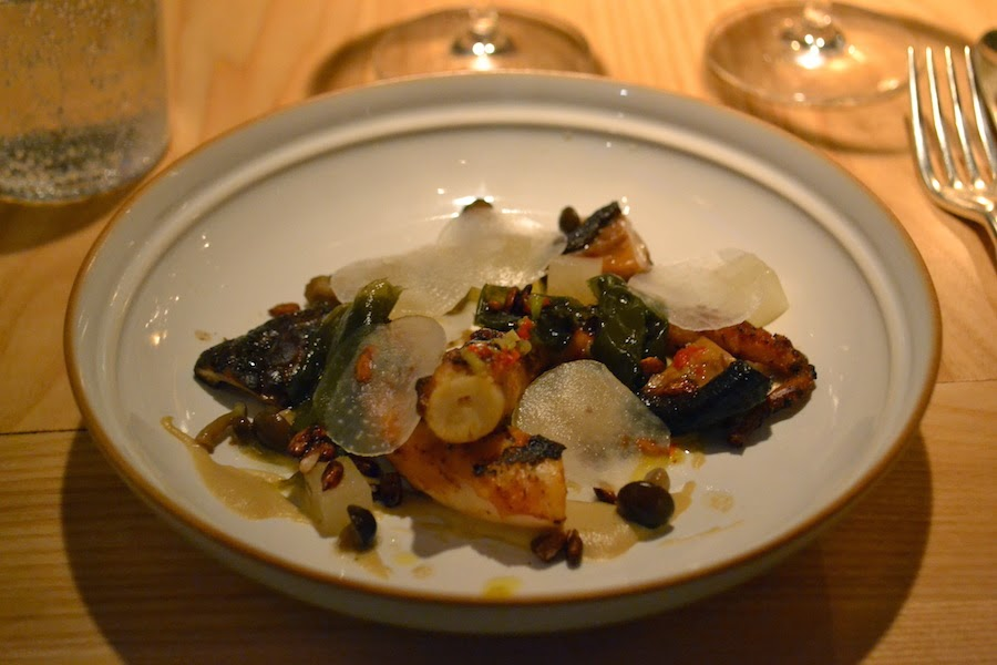 Grilled octopus with aubergine, daikon & mushrooms