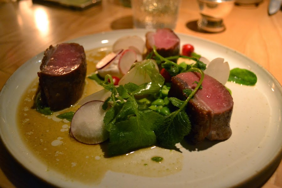 Spring lamb with minted broad beans, radishes & goat's curd