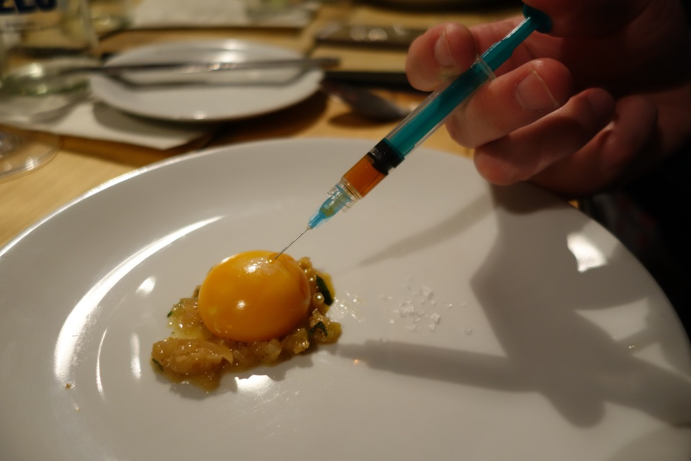 First English asparagus and egg yolk injected with chicken jus by Bjorn van der Horst