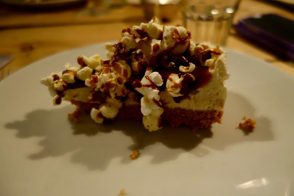 Salted butterscotch popcorn cheesecake by Rosie Birkett