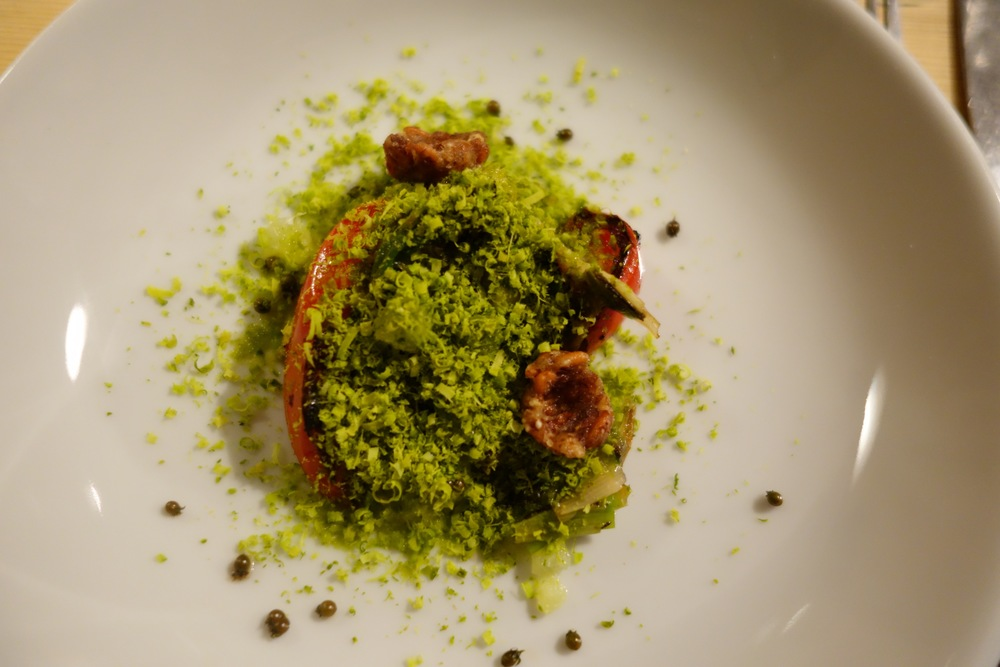 """""""Flavours of guacamole"""": pistachio and grilled vegetables with chochoyotes and beach coriander by Santiago Lastra"""