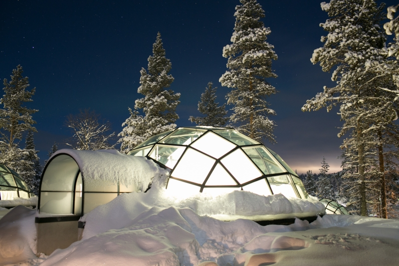 Kakslauttanen Arctic Resort Saariselkä Lapland Lappi Finland Glass Igloo East Village