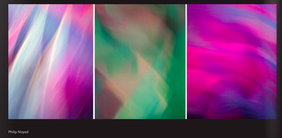 "Improv Triptych in Blue, Magenta, Green and White, Lambda prints mounted on acrylic and backlit with LED light panel. 11″ x 36″ x 2″. Each image framed by white acrylic. This work of art was included in the ""Ultra-Color Collection"" presented at a private reception hosted at the Musee du Louvre in July, 2015, as part the Fifth Annual Exposure Award."