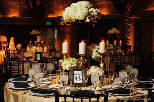 black and gold reception biltmore wedding