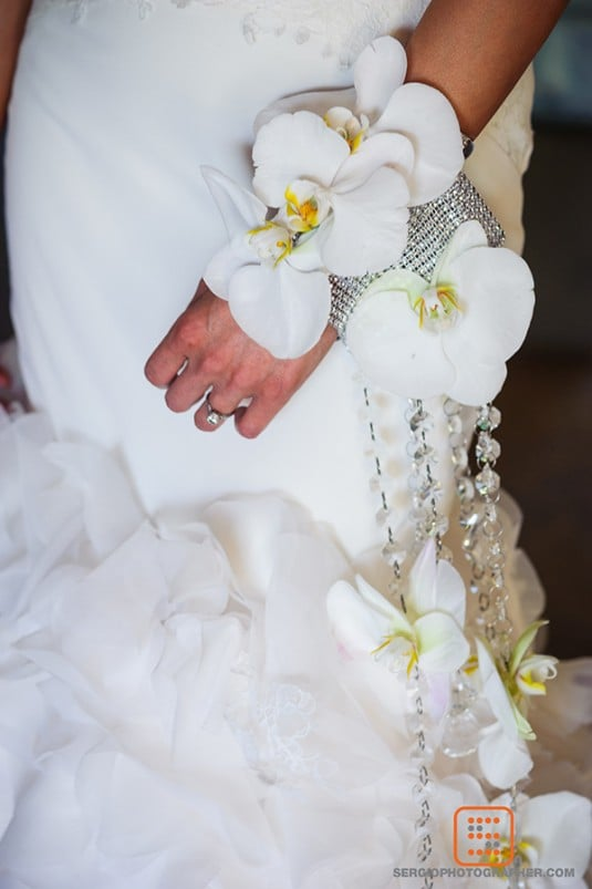 bride bouquet white orchid
