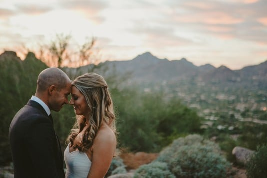 arizona bride and groom sunset