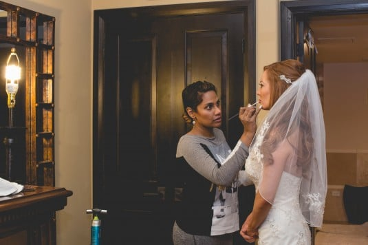az bride getting ready