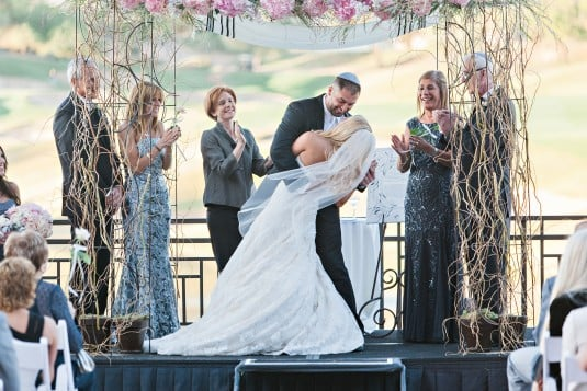 arizona bride and groom's first kiss
