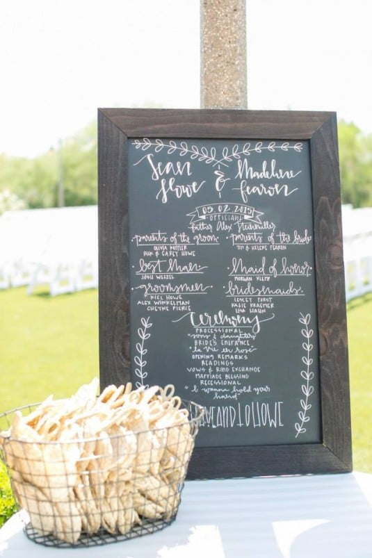 wedding ceremony board