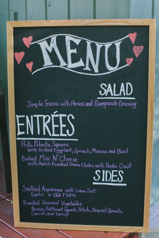 Wedding menu board