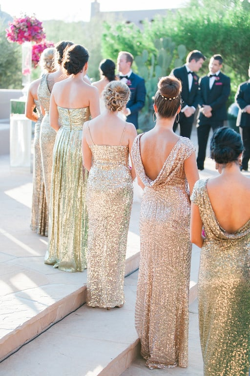 Gold Sparkly bridesmaids