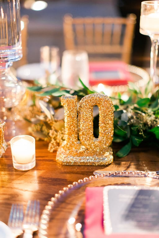 Gold sparkly table numbers