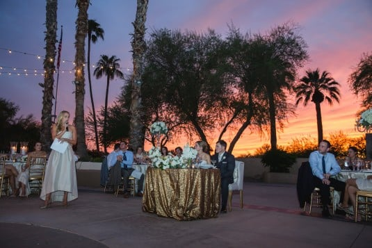 Sweetheart table with sunset