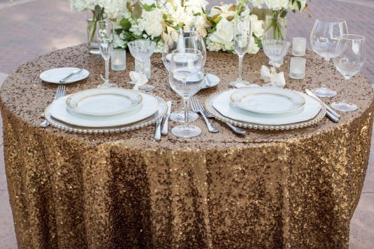 gold wedding reception