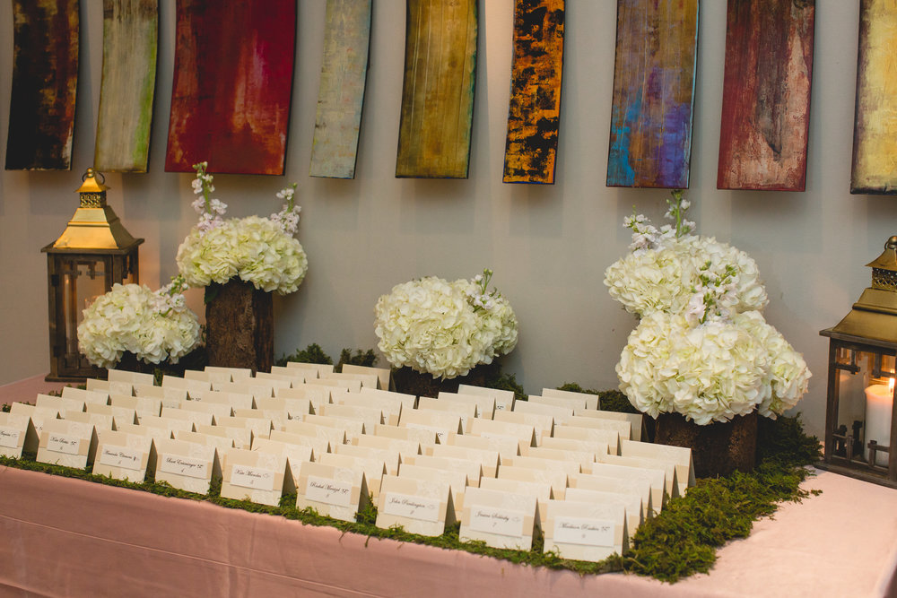 escort card wedding moss